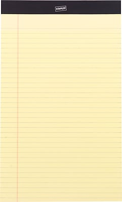 Staples® Perforated Legal Pad, Wide Ruled, Yellow, 8-1/2