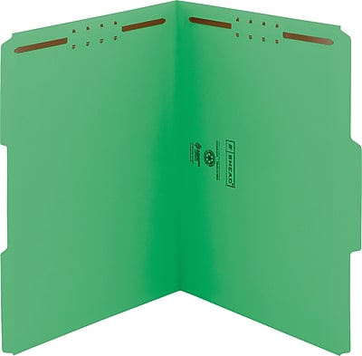 Smead WaterShed/CutLess Fastener Folders, Letter, 1/3 Tab Cut, 11 pt., Green, 50/ Bx
