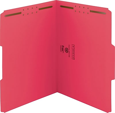 Smead WaterShed/CutLess Fastener Folders, Letter, 1/3 Tab Cut, 11 pt., Red, 50/ Bx