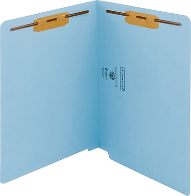 Smead WaterShed/CutLess End Tab Fastener Folders, Letter, 11 pt., Blue, 50/ Bx