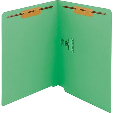 Smead WaterShed/CutLess End Tab Fastener Folders, Letter, 11 pt., Green, 50/ Bx