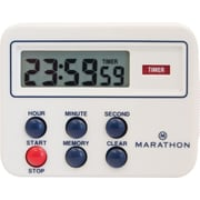 Marathon 24 Hour Compact Digital Timer with Count-up/Down Timer, Clock Feature and Magnetic Clip, White (TI080004)