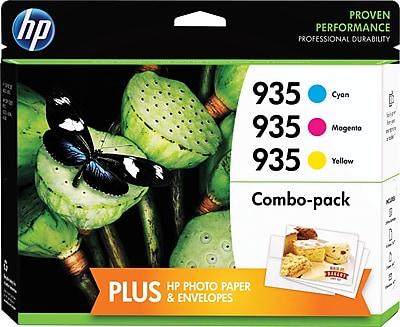 HP 935 C/M/Y Color Ink Cartridges w/ Photo Paper (F6U03FN#1400) Value Combo 3/Pack