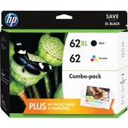 HP 62XL/62 High Yield Black and Standard Tricolor Ink Cartridges w/Photo Value Kit (F6U01FN#140), Combo 2/Pack