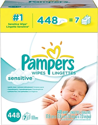 Pampers Sensitive Wipes, 448/Count