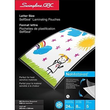 Swingline – Pochettes de plastification SelfSeal, 11-9/16 x 9-1/16 po, 8 mil, paq./5
