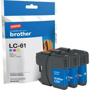 Staples® Remanufactured Inkjet Cartridge, Brother LC61 (LC-61C), Cyan, Magenta, Yellow, Multi-Pack