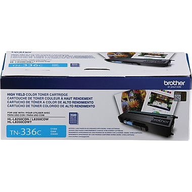 Brother TN336 Cyan Toner Cartridge, High Yield (TN336C)