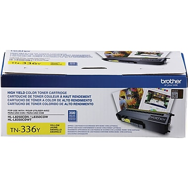 Brother TN336 Yellow Toner Cartridge, High Yield (TN336Y)