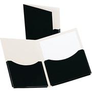 Oxford Double Stuff Gusseted 2-Pocket Laminated Paper Folder, 200-Sheet Capacity, Black, 1/EA