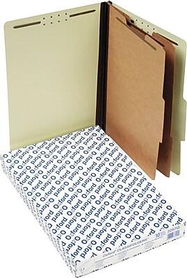 Pendaflex Pressboard Classification Folders, Legal, 2 Dividers, Light Green, 10/Box
