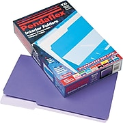 Pendaflex Interior File Folders, 1/3 Cut Top Tab, Legal, Violet, 100/Box