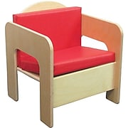 """Wood Designs™ 20""""(H) Plywood Padded Chair, Red Cushion"""