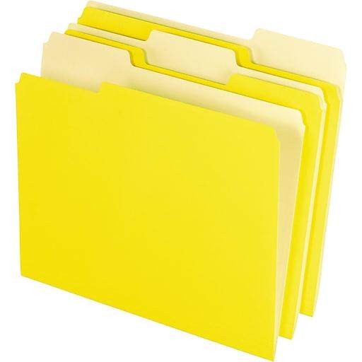 Pendaflex Two-Tone File Folder, 3 Tab, Letter Size, Yellow, 100/Box (PFX 152 1/3 YEL)