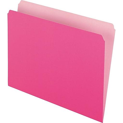 Pendaflex® Colored File Folders, Letter, Pink/Light Pink, 100/Box (152-PIN)