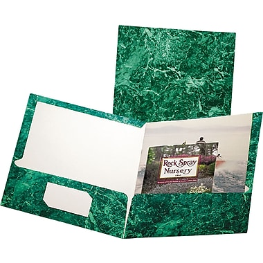 Marble Laminated Two-Pocket Portfolios, Emerald Green