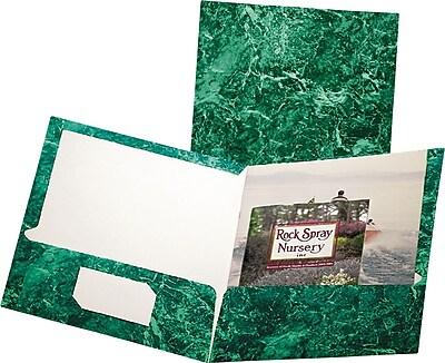 Oxford Marble Design Laminated High Gloss Twin Pocket Folder, Emerald Green, 25/box
