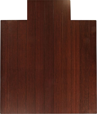 Anji Mountain Mountain 52''x44'' Bamboo Chair Mat for Hard Floor, Rectangular w/Lip, Dark Cherry (AMB24006W)