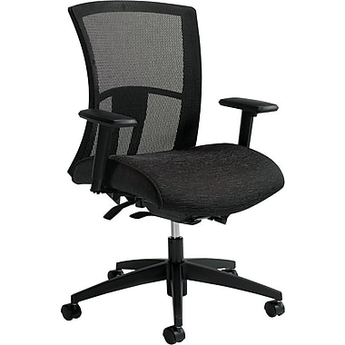 Global Vion Fabric Executive Office Chair, Adjustable Arms, Black (6322-8-UR22)