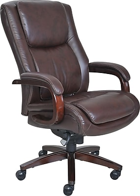 La-Z-Boy Winston Leather Executive Office Chair, Fixed Arms, Brown (44763)