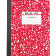 "Staples® Composition Notebook, College Ruled, 9-3/4"" x 7-1/2"", Red"