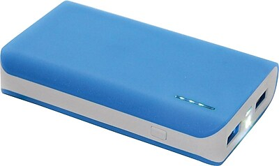 Urge Basics 6,000mAh Dual-Port Power Bank with Built-in Flashlight, Blue