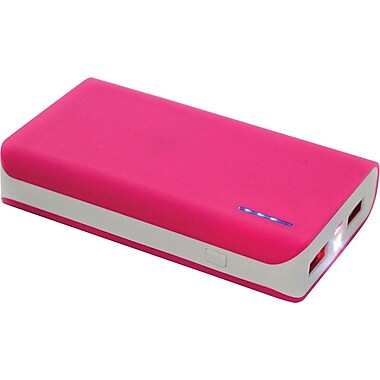 Urge Basics 6,000mAh Dual-Port Power Bank with Built-in Flashlight, Pink