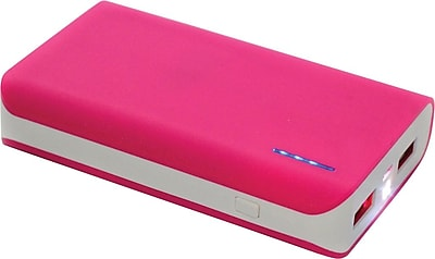 Urge Basics 6,000mAh Dual-Port Power Bank with Built-in Flashlight, Pink