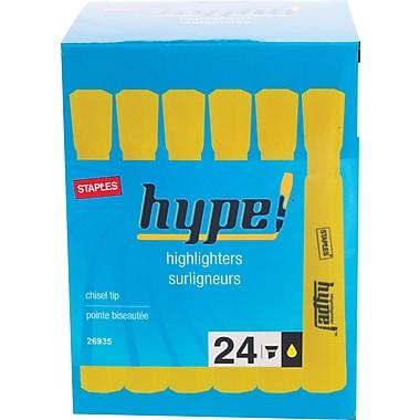 Staples® Hype!™ Tank Highlighter, Chisel Tip, Yellow, 24/Pack