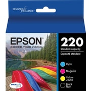 Epson 220, Black and Color Ink Cartridges, C/M/Y/K 4-Pack (T220120-BCS)