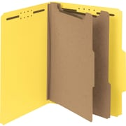 "Smead Pressboard Classification Folder, 2"" Exp, 2 Dividers, Letter, , Yellow, 10/Bx"
