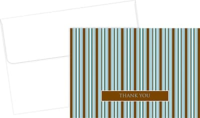 Great Papers® Brown & Blue Stripes Thank You Cards, 24/Pack