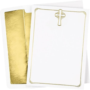 Great Papers® Foil Cross Flat Card Invitation and Envelopes, 25/Pack
