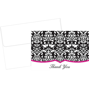 Great Papers® Classic Damask With Fuchsia Thank You Cards, 50/Pack