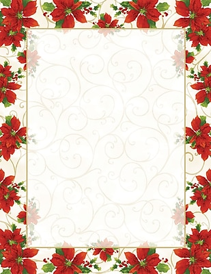 Great Papers Holiday Stationery Poinsettia Swirl Lh , 80/Count 1234444