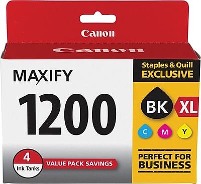 Canon PGI-1200 XL Black High Yield & PGI-1200 Color Standard Ink Cartridges 4-Pack, (9183B005)