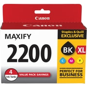 Canon PGI-2200 XL Black High Yield /PGI-2200 Color (C/M/Y) Standard Ink Cartridges (9255B005), 4/Pack