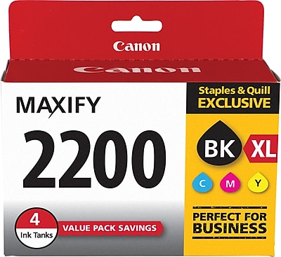 Canon (9255B005) Black High Yield and Color (C/M/Y) Ink Cartridges, Standard, 4/Pack