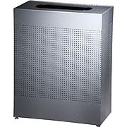 Rubbermaid® Designer Line Silhouettes Receptacle, Square, Steel, 22.5 Gallon, Silver