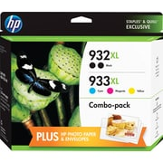 HP (F6V10FN#140) Black and C/M/Y Color Ink Cartridge, High Yield, 5/pack