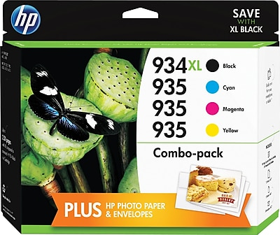 HP 934XL/935 High Yield Black & Standard C/M/Y Color Ink Cartridges w/Media Value Kit (F6U04FN#140), Combo 4/Pack