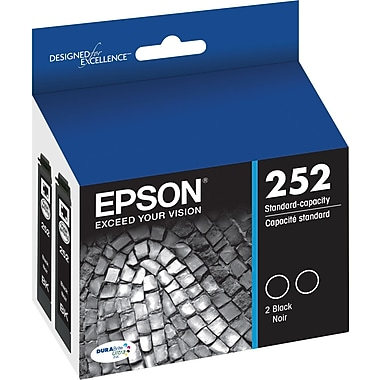 Epson DURABrite Ultra 252 Black Ink Cartridges (T252120-D2), Twin Pack