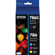 Epson DURABrite Ultra 786XL/786 Ink Cartridges, High-Yield Black and Standard Color C/M/Y, 4/Pack (T786XL-BCS)