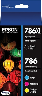 Epson® (T786XL-BCS) Black and Standard Color C/M/Y Ink Cartridges, High-Yield, 4/Pack