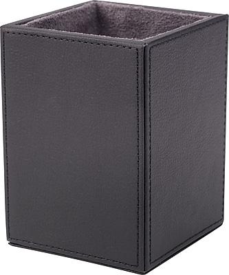 Staples® Pencil Cup Faux Leather, Black