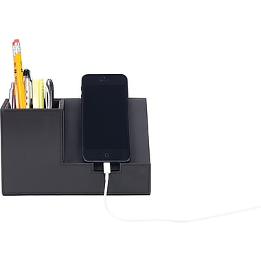 Staples Pencil Cup with Cellphone Holder Faux Leather, Black