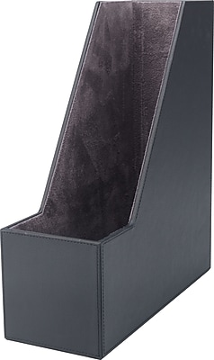 Staples® Magazine File, Faux Leather, Black