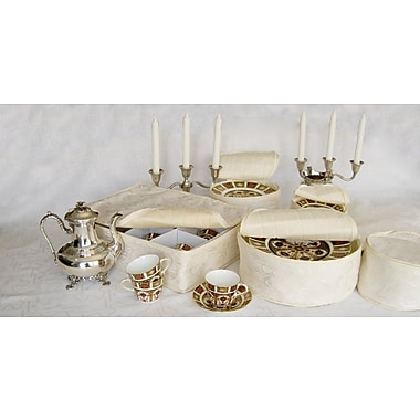 Marathon Management China Storage Damask Dish Case Set, Ivory