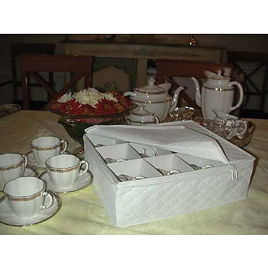 Marathon Management China Storage Dish Case with Quilted Cup Case, White