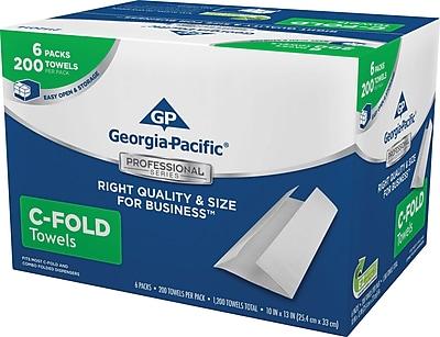 GP Georgia-Pacific Professional Series™ C-Fold Paper Towels, 1-Ply, White, Convenient Size, 6 Packs/Case